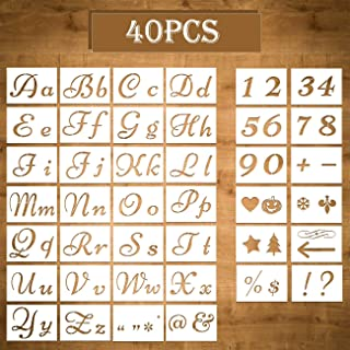 BUSIHA 40 PCs Letter Stencils and Number Stencils,80 Designs Reusable Alphabet with Calligraphy Font Upper and Lowercase Letters for DIY Drawing,Art Craft,Wood,Wall,Fabric,Rock, Scr(Letter/15 x 21 cm)