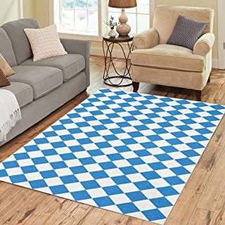 Semtomn Area Rug 5' X 7' Blue German Oktoberfest Checkered and Bavarian Flag Pattern Diamond Home Decor Collection Floor Rugs Carpet for Living Room Bedroom Dining Room