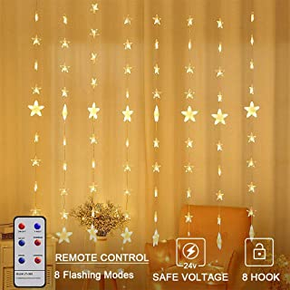 MaLivent 80 Stars 144 LED Curtain String Lights, Window Curtain Lights with 8 Flashing Modes Decoration for Christmas, Wedding, Party, Home, Patio Lawn, Warm White