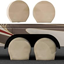 TCP Global Set of 4 Oxford Waterproof Canvas Wheel Tire Covers for RV Auto Truck Car Camper Trailer 27