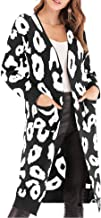 Relipop Women's Overcoat Leopard Print Open Front Knitted Long Cardigan Outwear Sweater