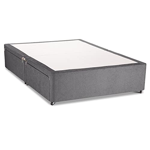 ab406cda06fa Charcoal Chenille with Wheels Without Drawer Divan Bed