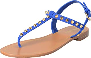 d0ed309770c992 Prada Women s Blue Suede Leather Flat T-Strap Sandals Shoes Sz US 8.5 IT  38.5