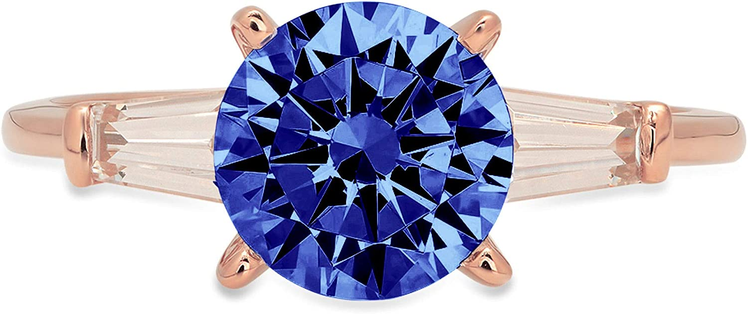 Clara Pucci 2.1 ct Round Baguette 3 OFFicial mail order 4 years warranty Cut Stunning Solitaire stone