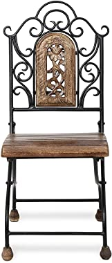 Handicrafts World Wooden & Wrought Iron Living Room Chair/Dining Chair/Outdoor Chairs Size 30X27.5X71 cm Kids Chair