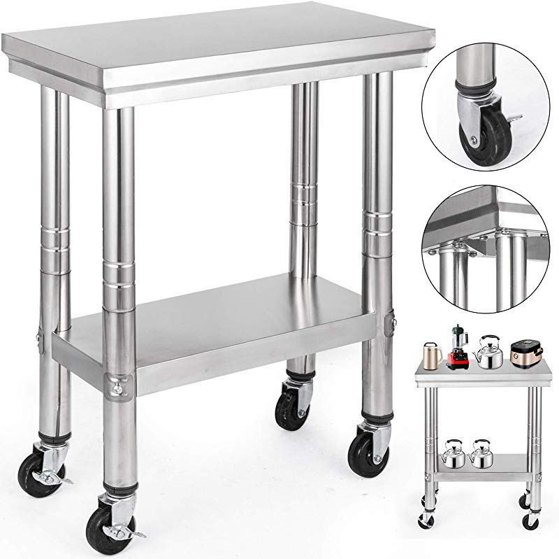VEVOR Stainless Steel Work Table With Wheels 12x24 Prep Table With Casters Heavy Duty Work Table For Commercial Kitchen Restaurant Business Garage Sliver