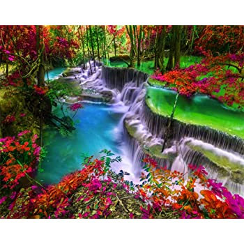 Amazon Com Aofoto 5x4ft Beautiful Waterfall Landscape Backdrop Vinyl Coloring Autumn Forest Cascade Red Leaves Rainforest Jungle Amazing Falls Clean Cool River Background Photography Photo Studio Props Vinyl Camera Photo