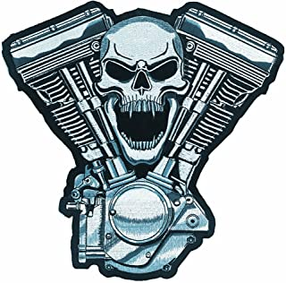 "Lethal Threat (LT30069 Skull Motor Embroidered Patch (11"" x 11"")"