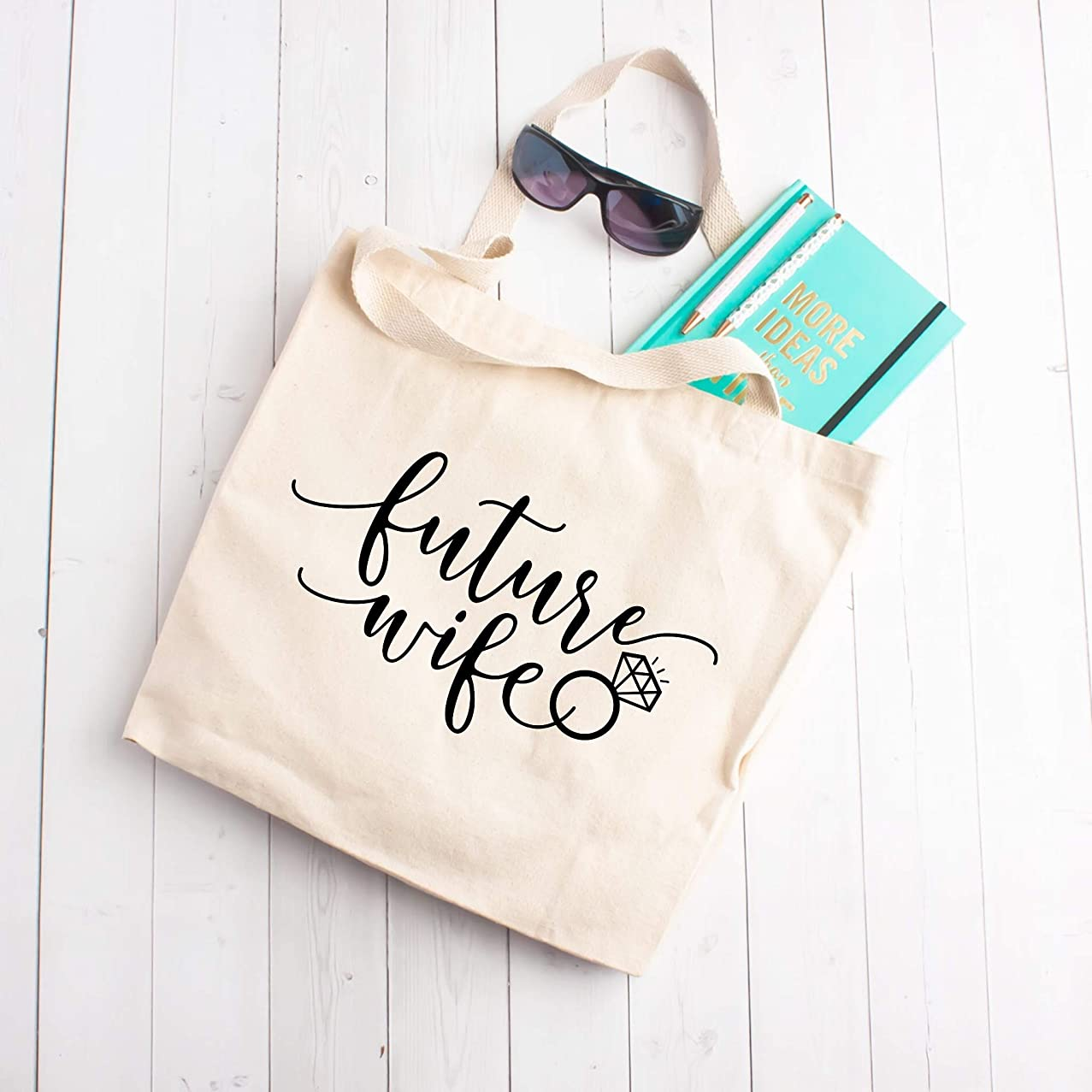 Future Wife Large Tote Beach Bag - Cute Sarcastic Funny Bag for Women - Unique Fun Gifts for Mom, Sister, Best Friend, Her under $30 - Handmade Printed in the USA Bags with Quotes