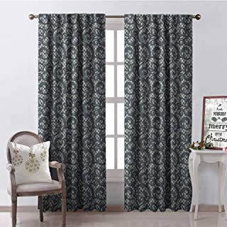 GloriaJohnson Teal Shading Insulated Curtain Lace Style Abstract Floral Ornament with Victorian Inspirations Vintage Illustration Soundproof Shade W52 x L95 Inch Teal Beige