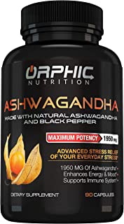 Max Potency Organic Ashwagandha Capsules with Black Pepper 1950 mg - Anti-Anxiety Supplements for Stress Relief, Mood Boos...