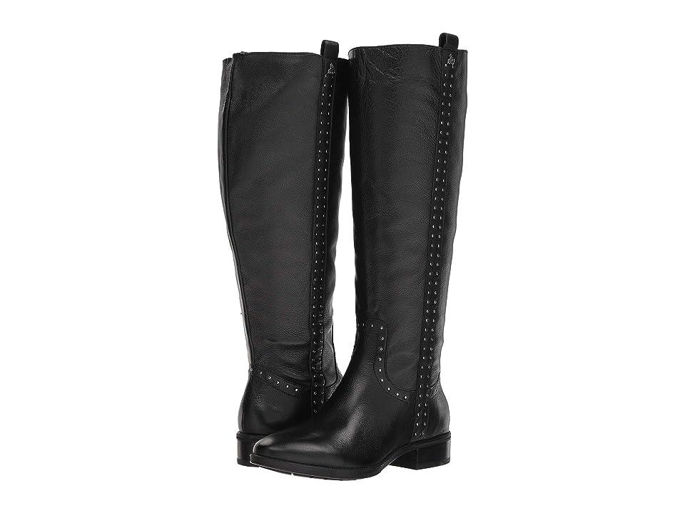 Sam Edelman Prina Wide Calf Leather Tall Boot (Black Neymar Leather) Women