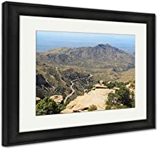 Ashley Framed Prints View Towards Tucson of Winding Road from Windy Point On Mount Lemmon in Tucson, Wall Art Home Decoration, Color, 30x35 (Frame Size), Black Frame, AG6550048