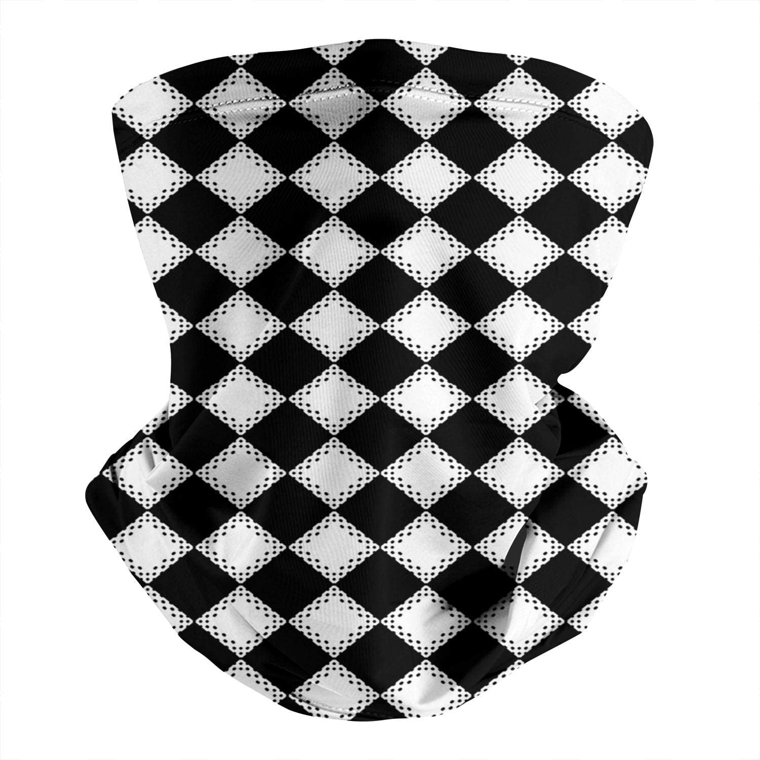 Mens Women Multifunctional Neck Gaiter Headwrap Checkerboard-abstract-leather- Unique Face Mask