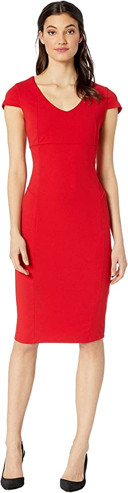 V-Neck Cap Sleeve Fit Midi Dress