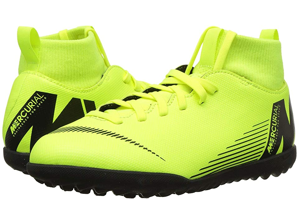Nike Kids SuperflyX 6 Club TF (Toddler/Little Kid/Big Kid) (Volt/Black) Kids Shoes