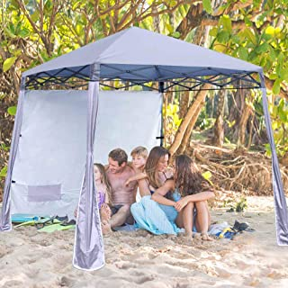 ABCCANOPY Pop-Up Canopy Tent Sun Protection Comapct and Lightweight Beach Canopy Slant Leg Backpack Canopy,Gray