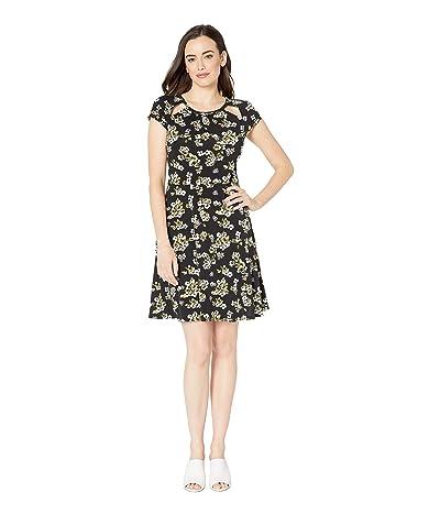 MICHAEL Michael Kors Glam Painterly Cut Out Dress (Black/Ivy) Women