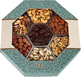 GIVE IT GOURMET, Jumbo Gift Basket,Holiday Nuts Gift Tray Delightful Gourmet Food Gifts Prime Delivery Birthday Christmas Mothers & Fathers Day Fruit Nuts Gift Box Assortment Men Women Families
