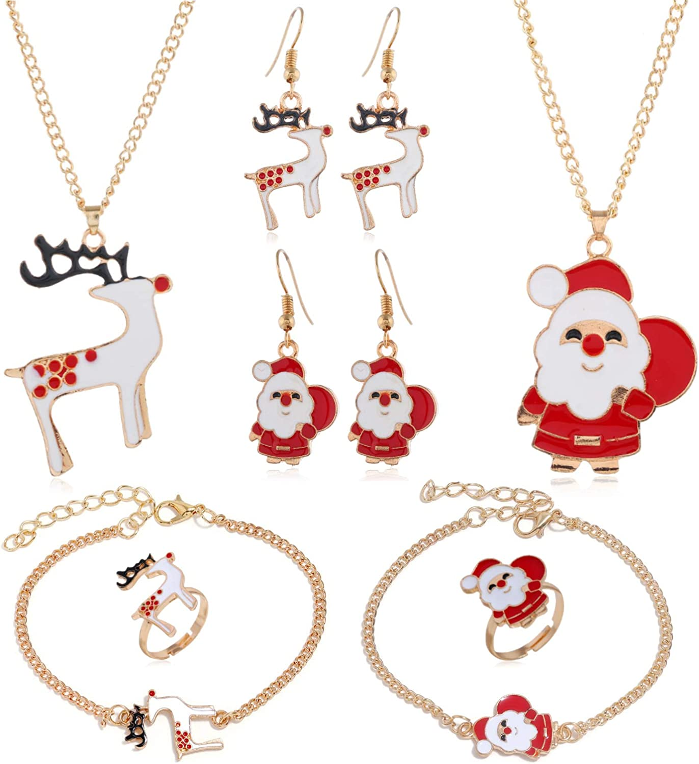 8Pcs Christmas Gold Jewelry Sets Santa Claus Elk Tree Bell Ring Necklace Earrings Bracelet Set for Women Girls Xmas Fashion Gifts