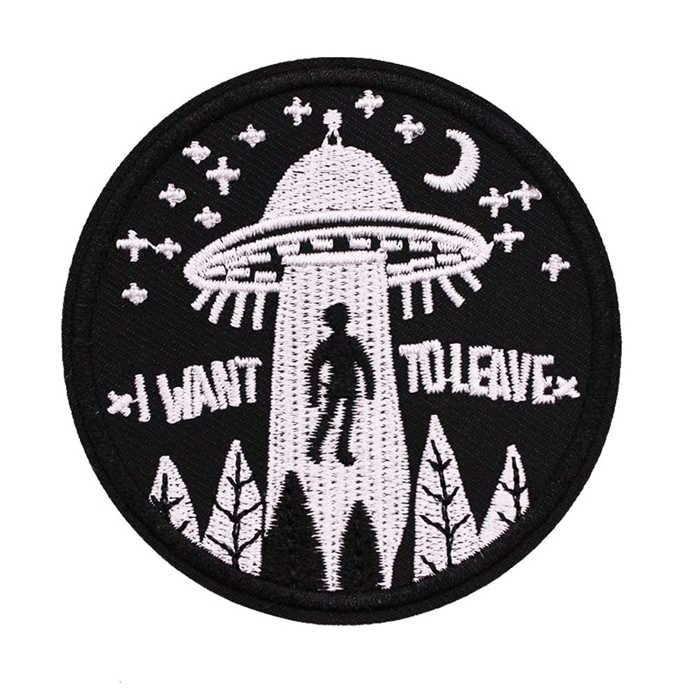 U-Sky Sew or Iron on Patches - I Want to Leave - Pack of 2 Different Design