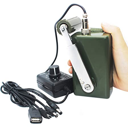 Hand Crank Generator High Power Charger for Outdoor Mobile Phone Computer Charging 30W / 0-28V with USB Plug (Green Generator + DC Regulator)