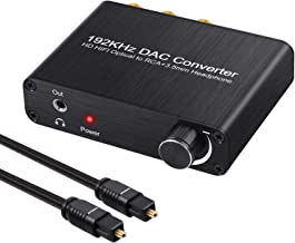 Neoteck 192kHz Dolby Digital to Analog Audio Converter with Volume Knob Support DTS/Dolby AC3 5.1CH Digital SPDIF Coaxial Toslink to Analog Stereo Left/Right RCA + 3.5mm Jack Audio Converter