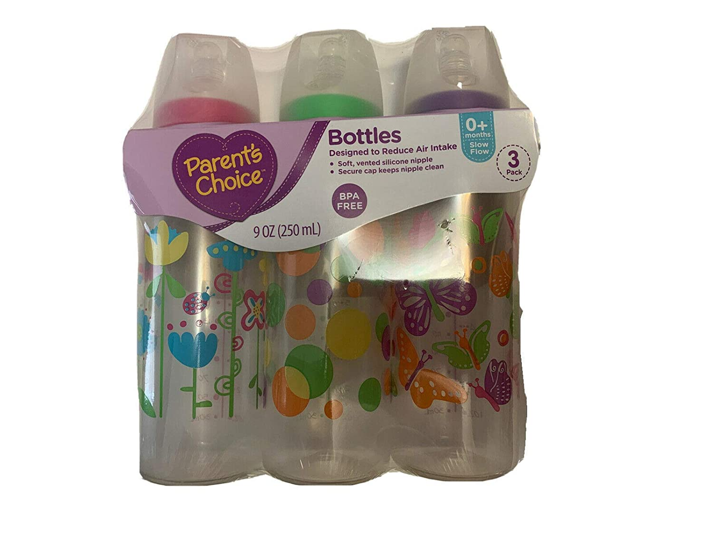 Parent's Choice Bottles, 3-Pack, 9oz, Slow Flow, For 0+ Months Assorted Colors