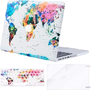 MOSISO Case Only Compatible with Older Version MacBook Pro 15 inch A1398 with Retina Display (2015 - end 2012 Release),Plastic Pattern Hard Shell&Keyboard Cover&Screen Protector, World Map