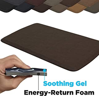 """GelPro Elite Premier Anti-Fatigue Kitchen Comfort Floor Mat, 20x36"""", Vintage Leather Rustic Brown Stain Resistant Surface with therapeutic gel and energy-return foam for health & wellness"""