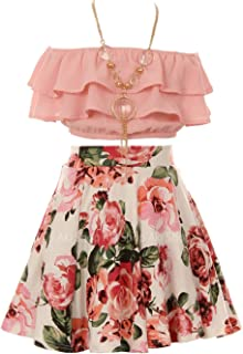 Cold Shoulder Crop Top Ruffle Layered Top Flower Girl Skirt Sets for Girl