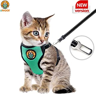 AWOOF Reflective Kitten Harness and Leash Escape Proof with Car Seat Belt, Adjustable Cat Puppy Walking Jacket with Metal Leash Ring, Soft Breathable Small Pet Vest (S)(New Version)