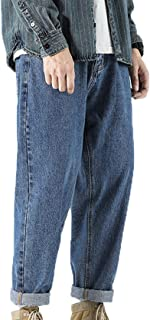 Generic11 Jeans da Uomo Primaverili e Autunnali Pantaloni in Denim Traspirante per la Pelle Pantaloni Larghi Dritti