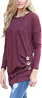 JomeDesign Women's Long Sleeve Round Neck Casual T-Shirt Tunic Tops Blouse