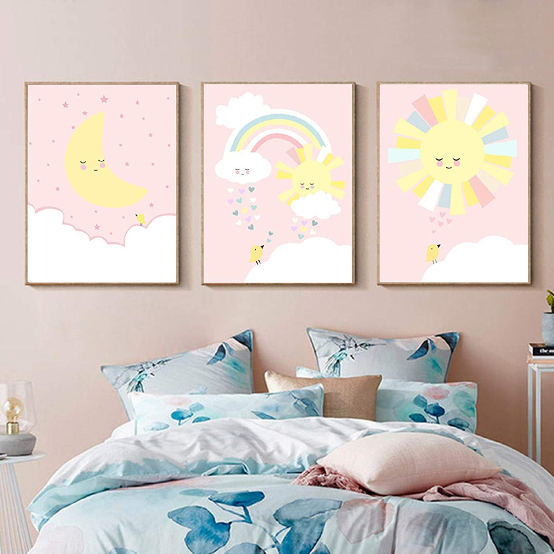 ZMFBHFBH Fresno Mall Pink Max 65% OFF Yellow Moon Sun Nursery Poster Art Deco Cute Child