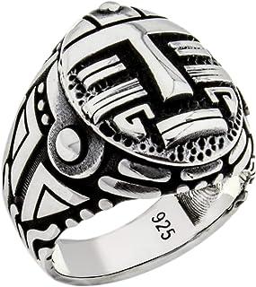Solid 925 Sterling Silver Gothic Biker Retro Design Luxury Men's Ring