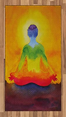 Ambesonne Chakra Decor Area Rug, Grungy Meditating Human Body Paint Print with Gradient Effects Care