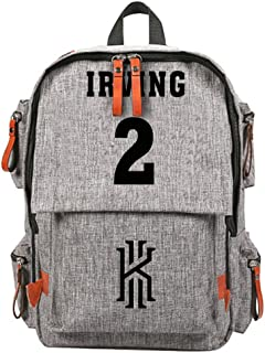 YOURNELO Boy's Girl's Basketball Player Multipocket Travel Bag Rucksack School Backpack Bookbag (Irving Grey)