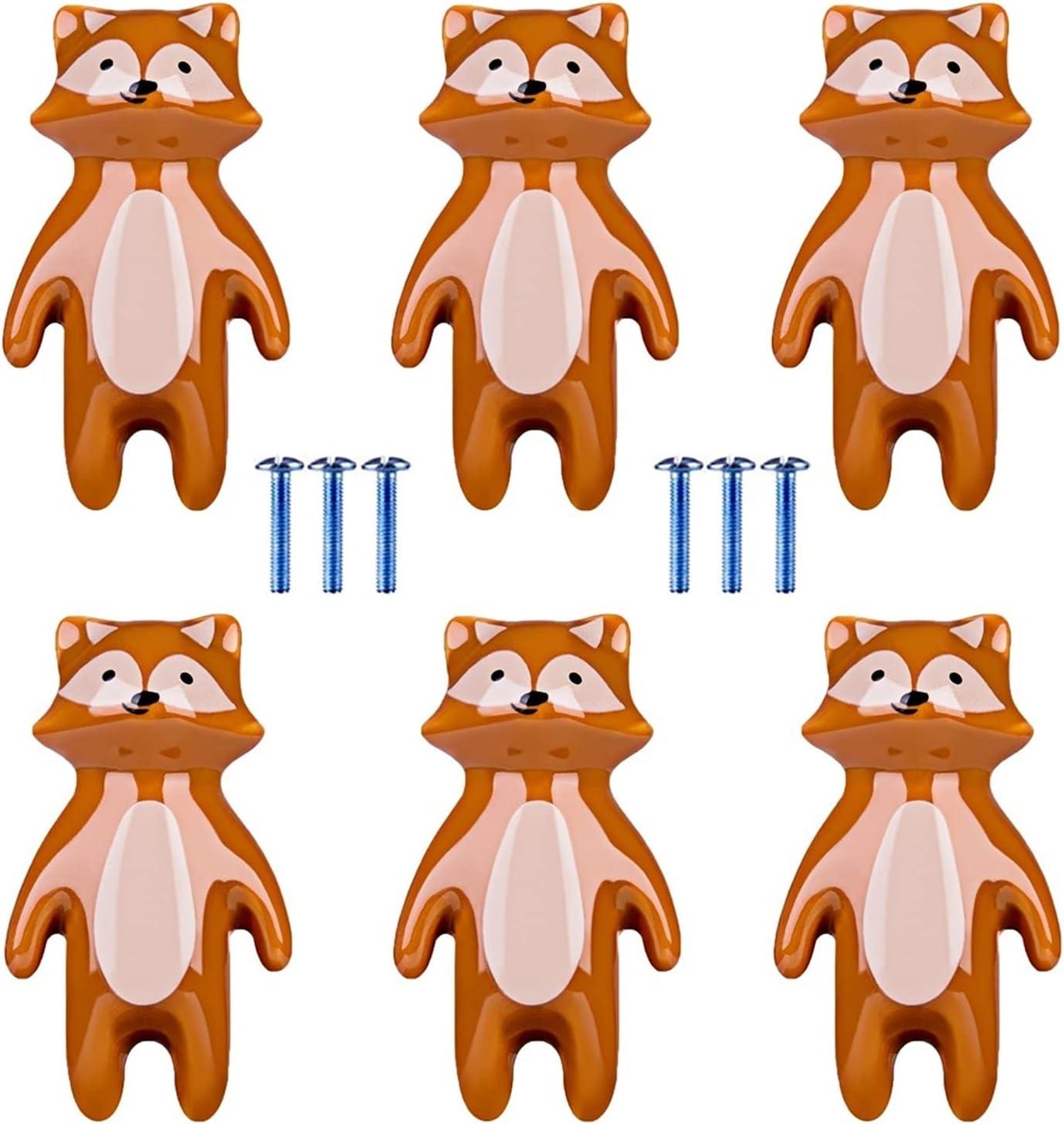 Cheap mail order sales AILIUQIAN 6pcs Children Ranking TOP14 Cartoon Door Fox Animal Knob Sha Ceramic