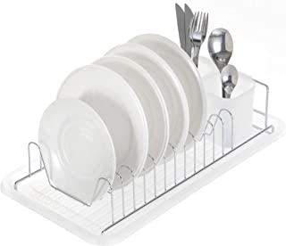Home Zone Kitchen Dish Drying Rack with Drain Board, Single Tier