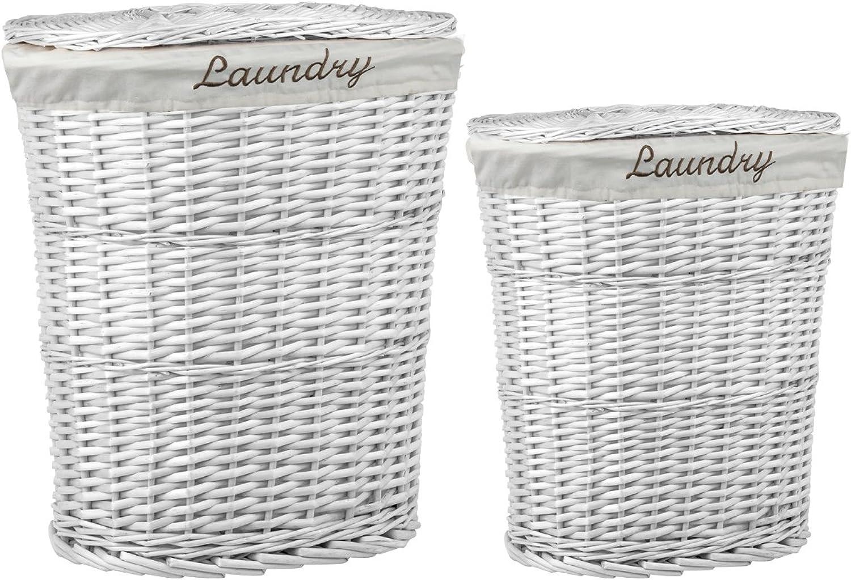Sunbeam LH45004 2 Piece Laundry Wicker Basket, White