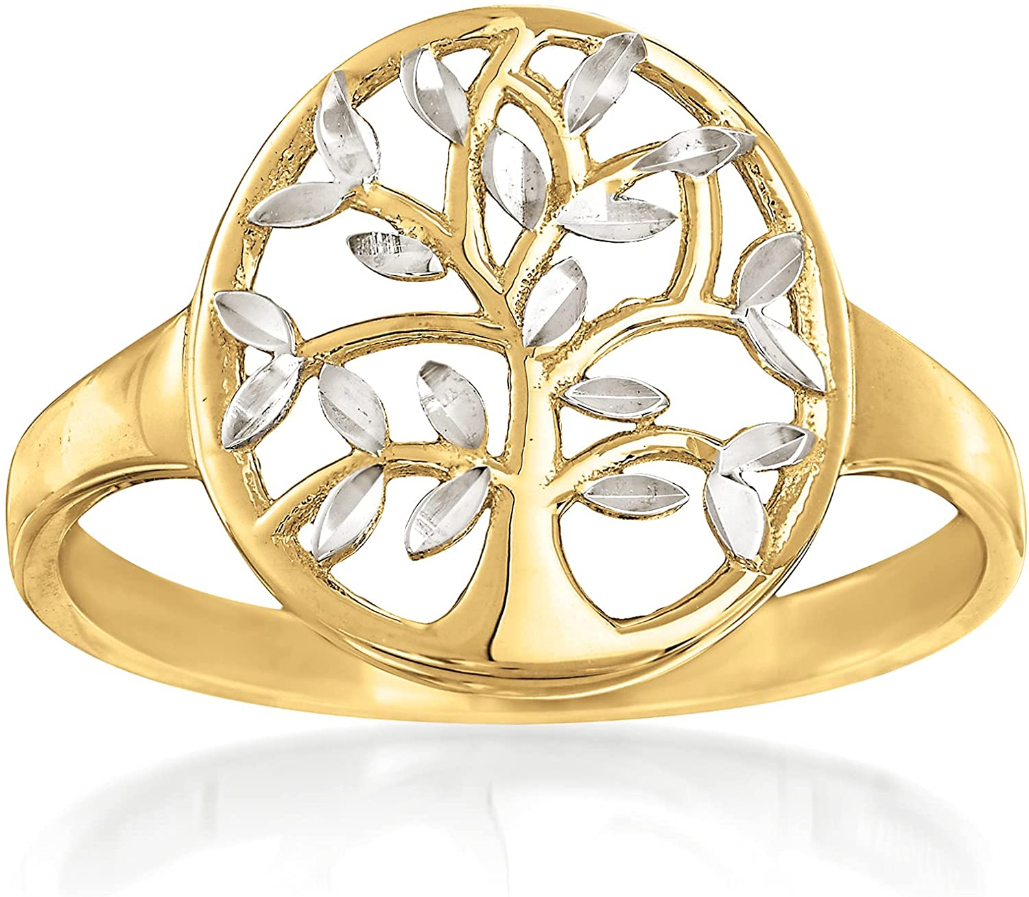 Ross-Simons New product 14kt 2-Tone Gold Cut-Out Ring Of A surprise price is realized Tree Life