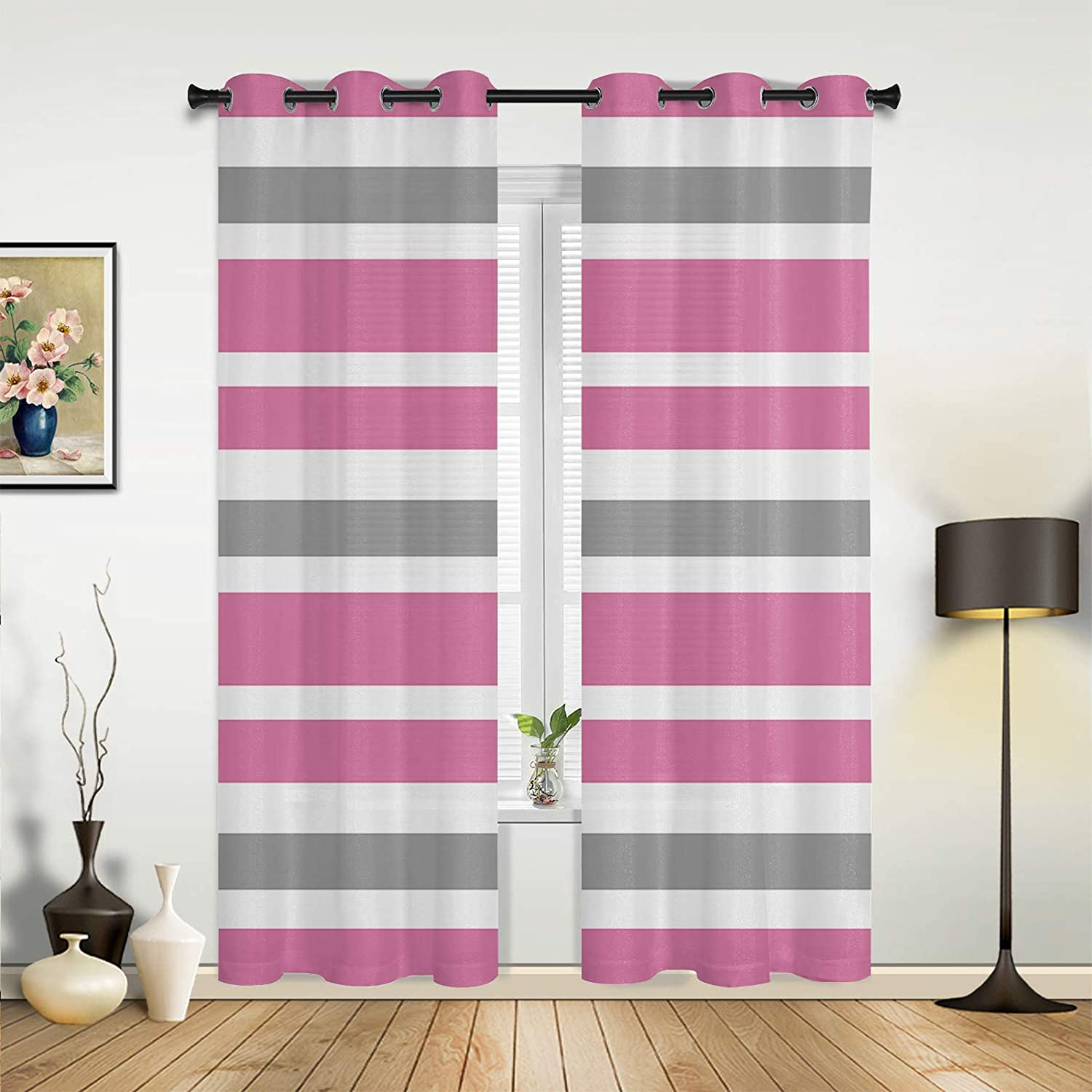 Window Sheer Cheap SALE Start Curtains for Bedroom Max 64% OFF Living Gray Room Sweet Mi Pink