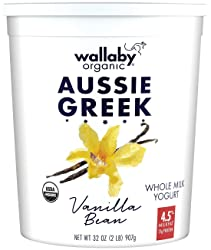 Wallaby Organic, Whole Milk Greek Yogurt, Blended Vanilla Bean, 32 oz