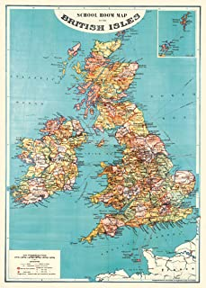 Cavallini & Co. British Isles Map Decorative Decoupage Poster Wrapping Paper Sheet