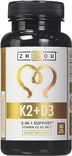 Zhou Nutrition, Vitamin K2 (MK7) with D3 Supplement, Bone and Heart Health Formula, 5000 IU Vitamin D3 & 90 mcg Vitamin K2...