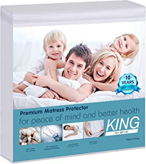 Mattress Protector King Size - Waterproof Mattress Pad Cover Made of 100% Pure Cotton, Smooth Soft Bed Cover, Noiseless, C...