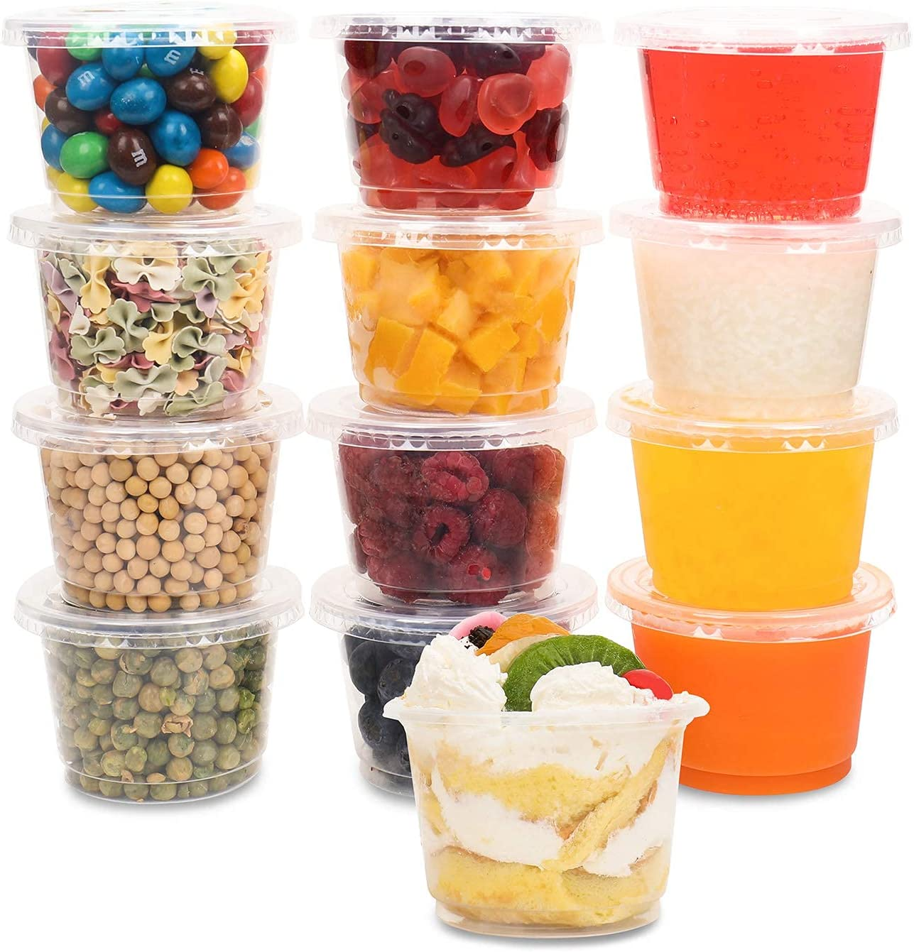 JAYEEY 8OZ Parfait Cups with Flat lids 50 Sets Ice Cream Cups Food Containers Dessert Cups Party Supplies Ddisposable Plastic Cups