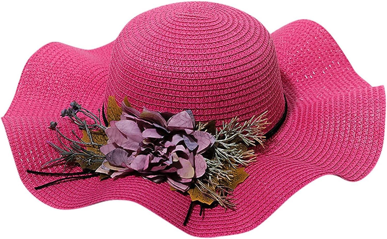 Women Summer Beach Sun Hat Large Flowers Visor Outdoor Straw Hats Wide Brim Foldable Packable Roll up Cap