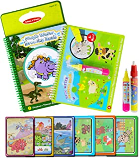 BBLIKE Water Colouring Doodle Drawing Board, 2 Coloring Water Drawing Book with 2 Magic Pen!Toy Gift for Boys Girls Age 2 3 4 5 Year Toddler Reusable Water-Reveal On The Go